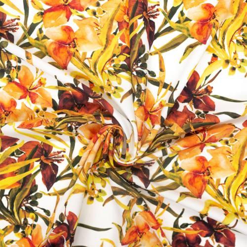 Tissu microfibre écru imprimé fleur aquarelle orange
