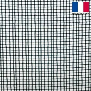 Tissu microfibre écru motif carreau éffilé noir