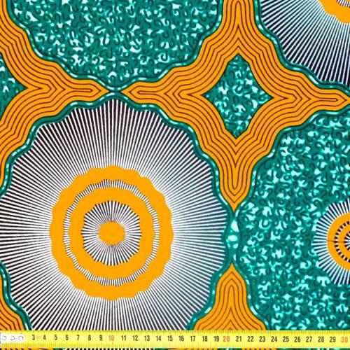 Wax - Tissu africain motif géométrique ocre et vert paon 362
