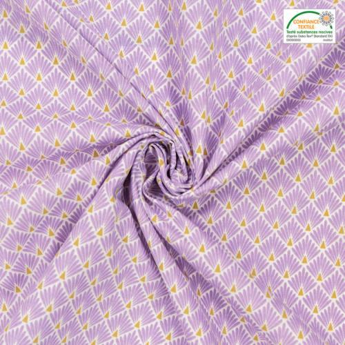 Coton imprimé écailles parme et ocre