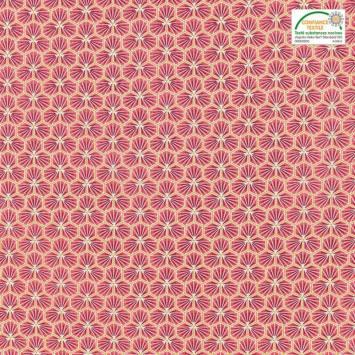 Coton rouge vermillon motif trèfle riad