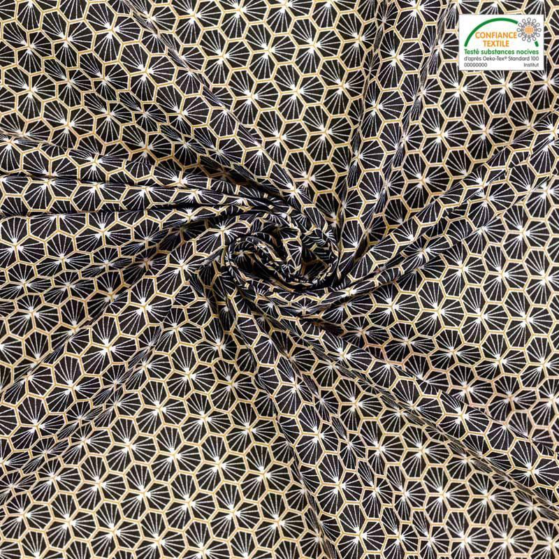 Coton noir motif trèfle riad