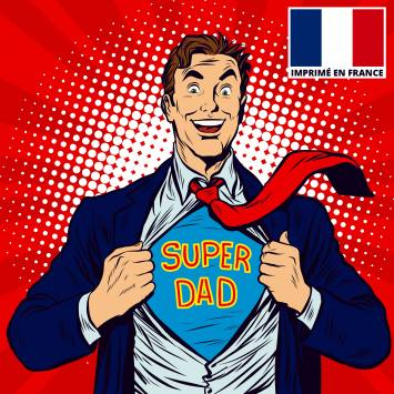 Coupon 45x45 cm toile canvas super dad rouge