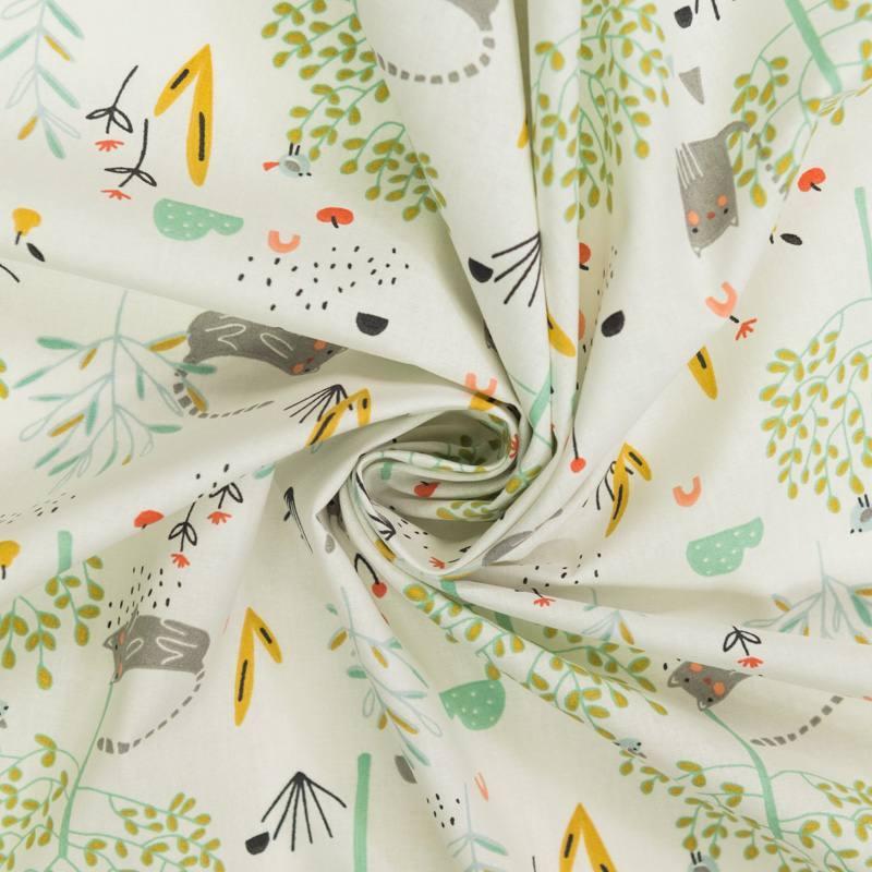 coupon - Coupon 85cm - Coton écru motif chat et arbre vert d'eau et ocre
