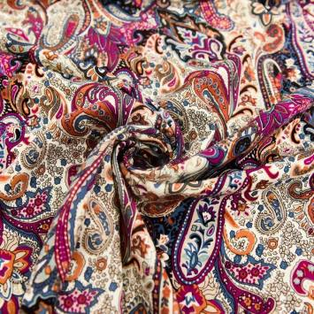 Tissu viscose imprimé cachemire violet et bleu