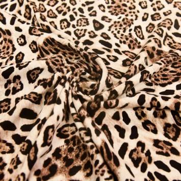 Tissu viscose beige imprimé léopard
