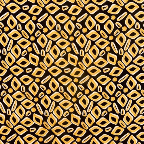 Tissu viscose noir imprimé berlingot jaune