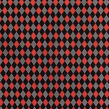 Coton imprimé losange rouge et noir