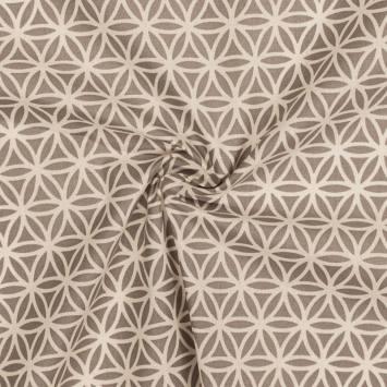 Coton grège imprimé rosace beige