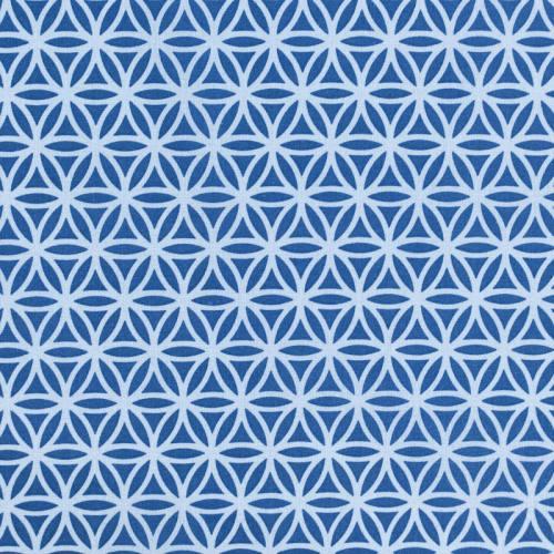 Coton bleu foncé imprimé rosace bleu clair