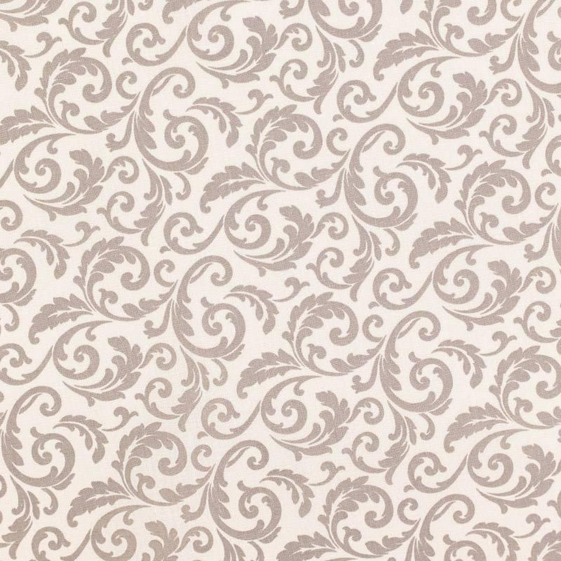 Coton beige imprimé arabesques végétales grèges