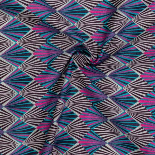 Coton imprimé losange rayon rose vert et prune