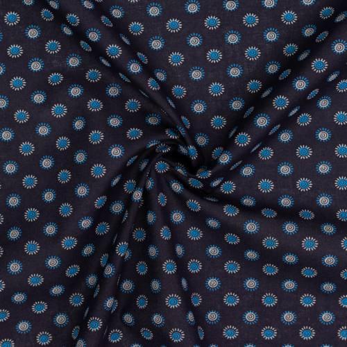 Coton spécial chemise bleu marine imprimé petites fleurs bleues