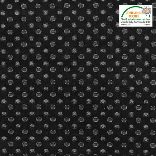 Coton spécial chemise noir imprimé petites fleurs grises