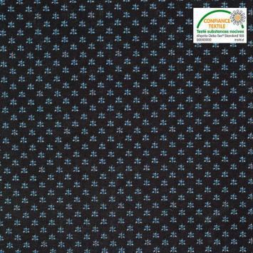 Coton spécial chemise noir imprimé mini-fleurs bleues