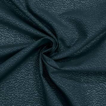 Toile polycoton bleue fil argenté