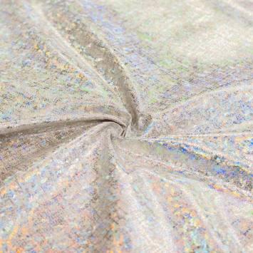 Tissu aspect lin imprimé hologramme