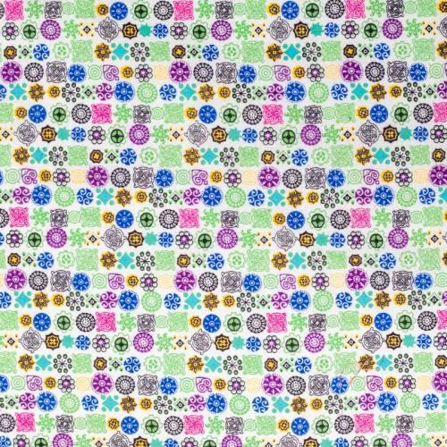 Flanelle de coton blanche imprimée formes géométriques vertes