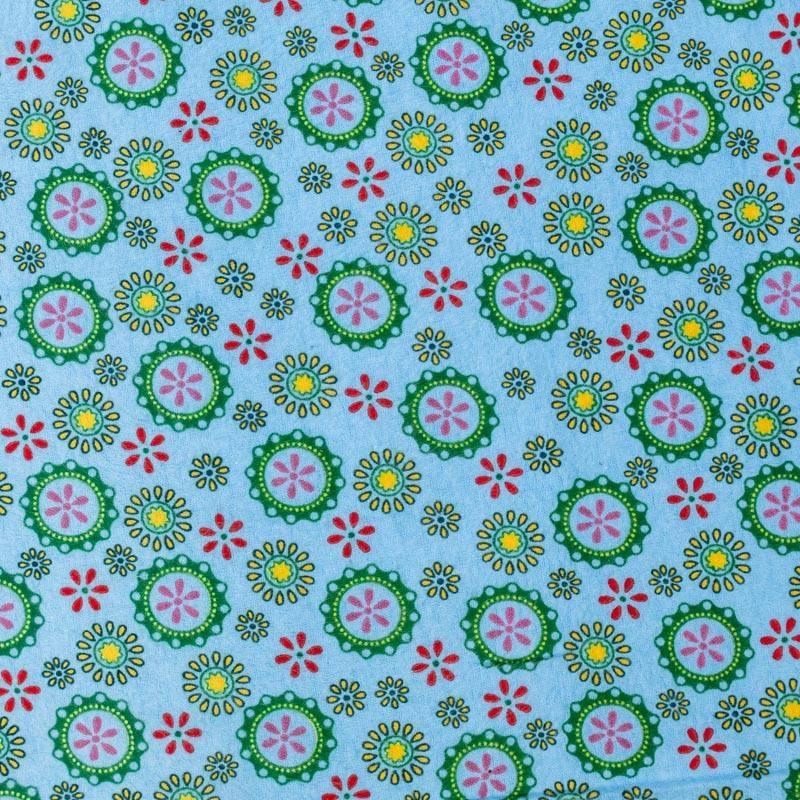 Flanelle de coton bleu ciel imprimée rosaces