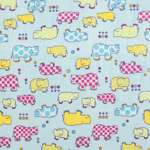 Flanelle de coton bleue imprimée hippopotame