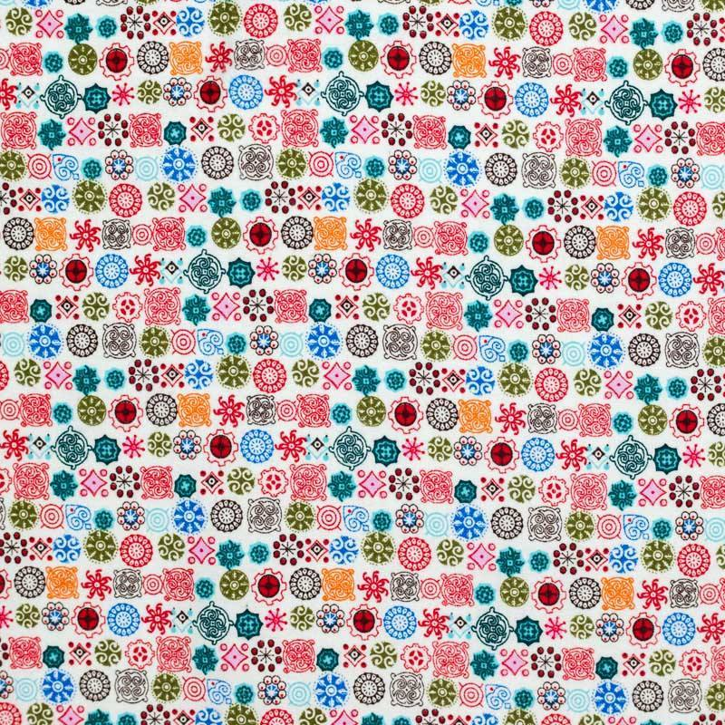 Flanelle de coton blanche imprimée formes géométriques rouges