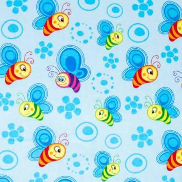 Flanelle de coton bleue imprimée abeille