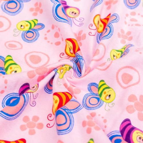 Flanelle de coton rose imprimée abeille