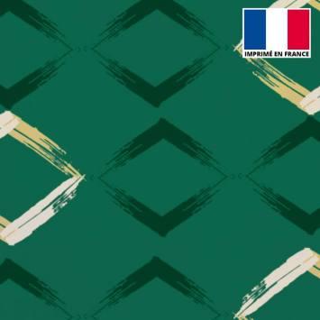 Velours ras vert imprimé losange peint