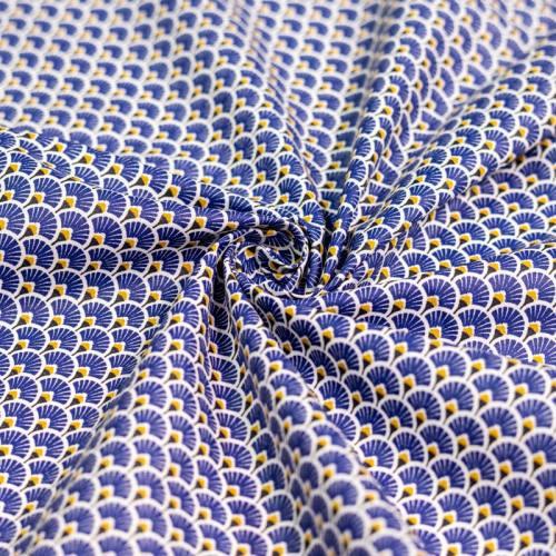 Coton enduit imprimé éventails bleu indigo et ocre