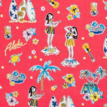 Coton rouge imprimé Tahiti