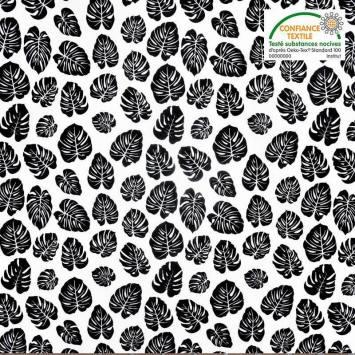 Popeline de coton blanche motif feuille palmier noire