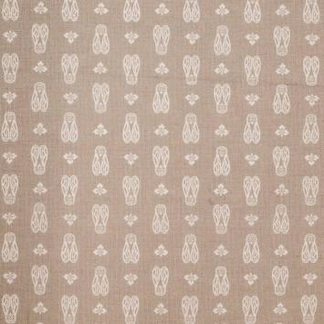 Coton grège imprimé cigale blanche