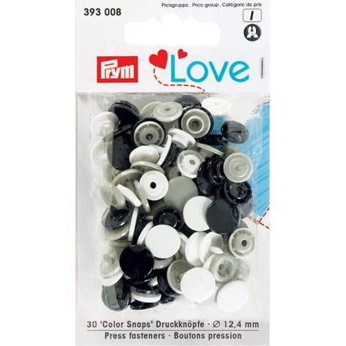Sachet de 30 boutons-pression ronds Prym Color snaps marine/gris/blanc