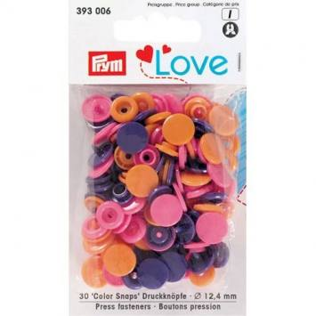 Sachet de 30 boutons-pression ronds Prym Color snaps fuchsia/violet/orange