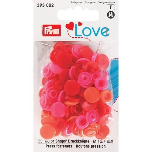 Sachet de 30 boutons-pression ronds Prym Color snaps rouge/rose/corail