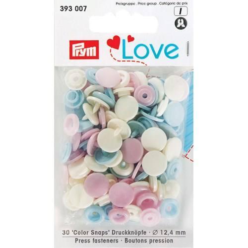 Sachet de 30 boutons-pression ronds Prym Color snaps pastel rose/jaune/bleu