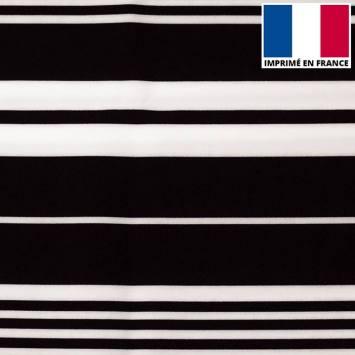 Tissu microfibre imprimé rayures asymétriques noires et blanches