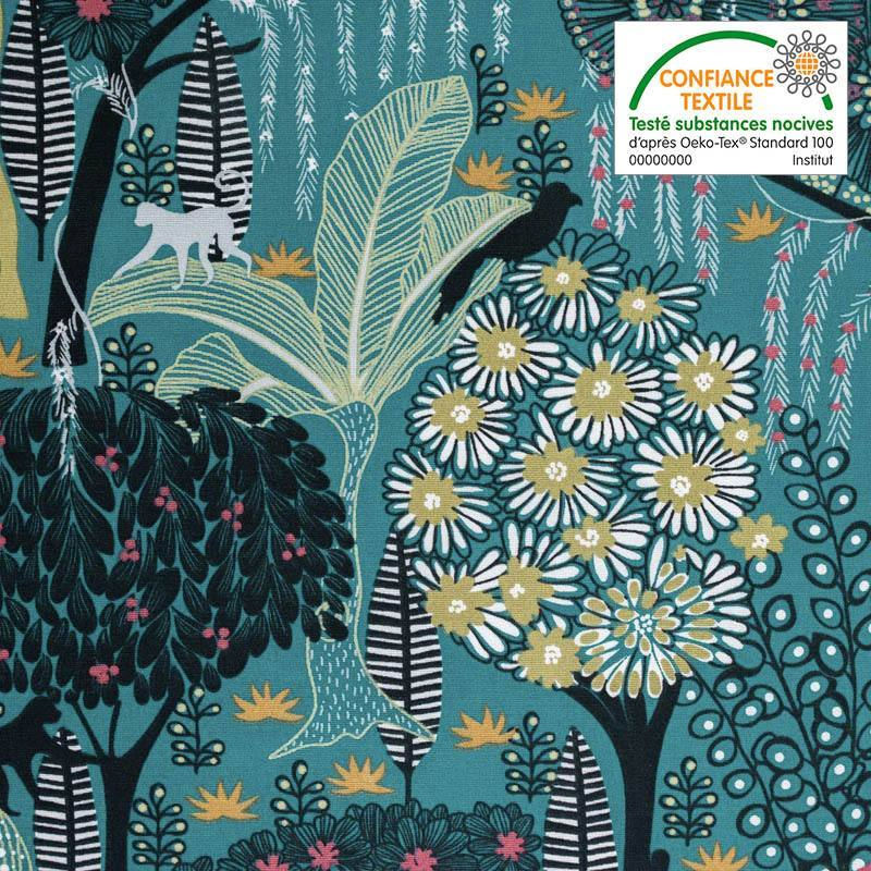 Toile coton vert canard imprimée jungle abstraite idaho