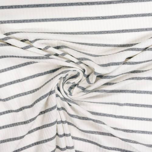 coupon - Coupon 94cm - Jersey blanc côtelé rayé gris pailleté