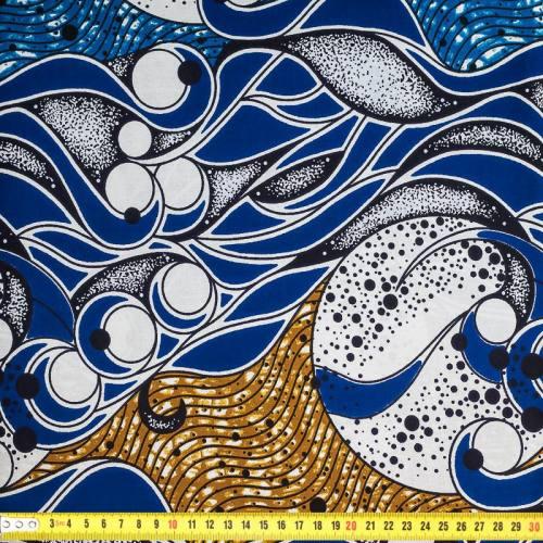 Wax - Tissu africain bleu et marron 375