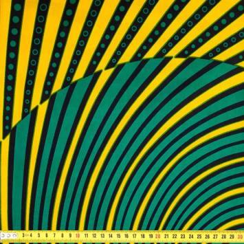 Wax - Tissu africain vert et jaune 378