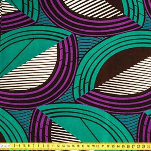 Wax - Tissu africain géométrique courbe verte et violette 379