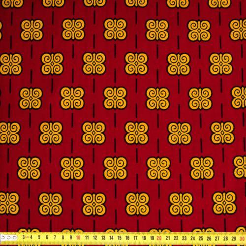 Wax - Tissu africain rouge foncé ornement safran 370