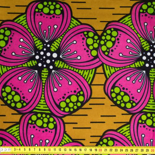 Wax - Tissu africain moutarde motif fleur fuchsia et verte 394