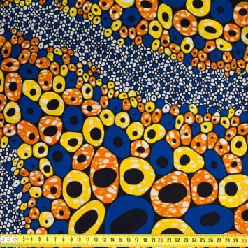 Wax - Tissu africain motif galet orange, bleu et jaune 396