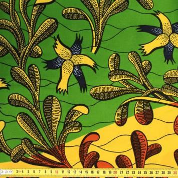 Wax - Tissu africain orange, jaune et vert motif algues 398