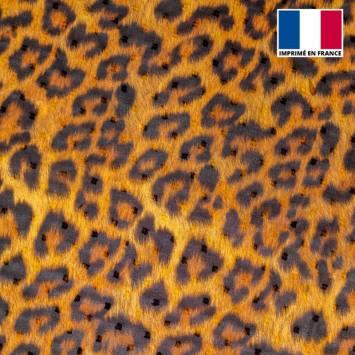 Voile plumetis imprimé effet fourrure léopard
