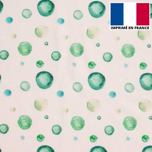 Eponge blanche imprimée bulle aquarelle verte
