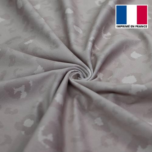 Velours d'habillement motif léopard gris clair monochrome