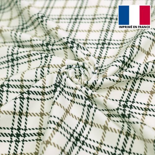 Velours d'habillement motif tartan bleu marine, écru et kaki